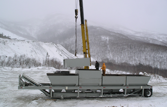 Portable concrete plant in Sakhalin with Desna's built 2 control panels and installation – Sakhalin, RU